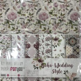 Papers For You, Kit Papel Vellum, Wedding Boho Style 6 Papeles 30 X 30.